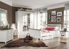 Our Chateau Bedroom suite is a soft white paneled veneer with contrasting tops. The chateau range can potentially furnish all areas of your home as we have matching units for the welcome area, dining area, bedroom and entertainment area
