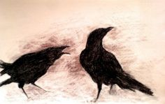 Winter crows 2  original charcoal drawing  by Natureandart on Etsy, $45.00