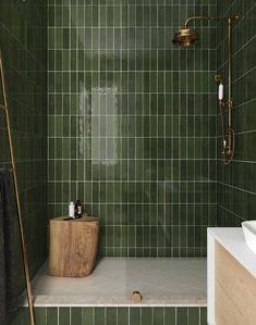 La Riviera Botanical Green x Bad Inspiration, Bathroom Inspiration, Moroccan Wall Tiles, Bathroom Trends, Bathroom Interior Design, Bathroom Designs, Home Remodeling, Green Tiles, Green Bathroom Tiles