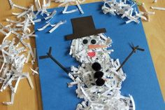 It may not be snowing where I live, but we're making our own snow with shredded paper.We're glittering our picture with shredded paper, creating a fun and festive winter snowman. Supplies: shredded paper, right from your electronic paper shredder. Or you can create your own shredded paper with scissors or a paper trimmer. 1 sheet of colored paper pencil school glue or tacky glue paint brush - optional googly eyes, pom poms colored paper scraps 1. With your pencil, draw three large ci...