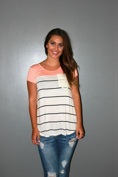 Striped Crochet Pocket Top - Peach - Trendy Ragz Boutique