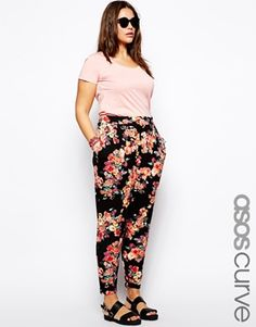ASOS CURVE Exclusive Peg Trouser In Floral Print