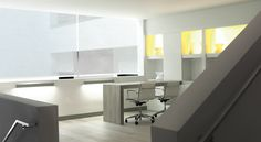 Solar Shades excel at reducing glare in the office. Shown in material 7% metallic, color Snow. | The Shade Store