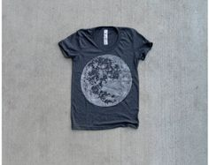 Women tshirt / t shirt for women - full moon print on heather black - ladies top - for her / for women - moon shirt by Blackbird Tees