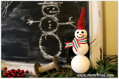 Mom 4 Real: Make A Snowman With Styrofoam from the Dollar Tree