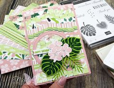Nicole Wilson Independent Stampin' Up!® Demonstrator - ESAD buy 3 get one free blog hop! Birthday card using the bargello technique and tropical escape papers. #stampinup #nicolewilsonstamp #bargello #tropicalescape #tropicalchic #birthday #flower #tropical #quilteffect