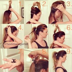 """Perfect Ponytail: IF YOU HAVE THICK HAIR, use two ponytail rubber bands.  8) secure the butterfly clip under the top section of the ponytail. (it acts as a """"Bump-It"""" for your pony) you can also lightly tease the top section to create more lift."""