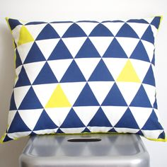 TRI GEO CUSHION/PILLOW COVER - INDIGO/CITRON  laurenskye designed fabric printed on Cotton/Linen blend.  Love the print but need a different colour? We can do a custom order and print in any colour of the rainbow! Contact us for further details.  Measurements: 47cm x 40cm Gentle machine wash – warm or cool Invisible zip closure allows for easy insert removal for cleaning ...MADE BY LAUREN SKYE STUDIO