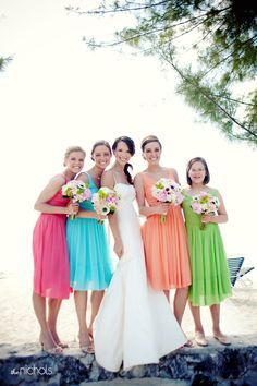 Colorful bridesmaids dresses for a beach wedding - #beach #wedding #ideas