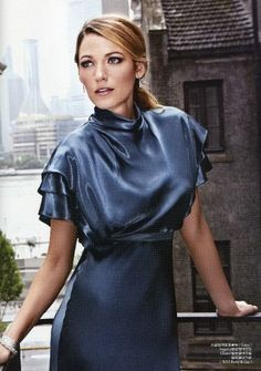 Blake Lively wearing Gucci Fall 2013 Blue Silk Dress Tiffany and Co. Tiffany Swing Three-row bracelet Tiffany and Co. Marquise Diamond Cluster Bracelet Tiffany and Co. Elsa Peretti Teardrop earrings ELLE China September 2013