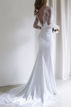 Elegant Lace Long Sleeves Mermaid White Long Wedding Dress with Train WD110