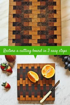Learn how to give an old cutting board new life with this easy how-to >> http://blog.hgtv.com/design/2015/07/06/adventures-in-antiquing-restore-an-old-cutting-board/?soc=pinterest
