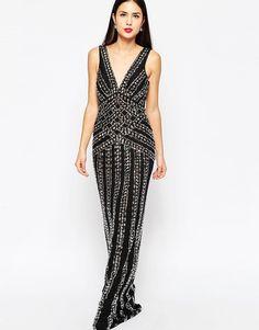 Forever Unique Beaded Maxi Evening Dress in Black UK 8/EU 36/US 4 rrp £410