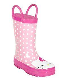 Look at this #zulilyfind! Pink Hello Kitty Rain Boot #zulilyfinds
