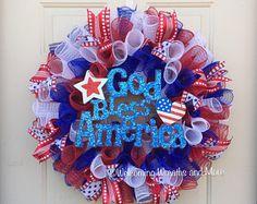 American Flag Heart Wreath 4th of July Wreath Patriotic Mesh