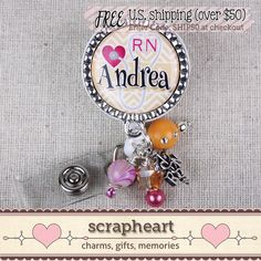 Personalized RN Nurse Name Badge Reel Cute by ScrapheartGifts