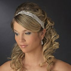 Crystal Accented Bridal Satin Ribbon Headband - Affordable Elegance Bridal -