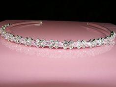 Bridesmaid Prom use Pink Swarovski Crystal Flower Girl Headband Tiara T058 UK