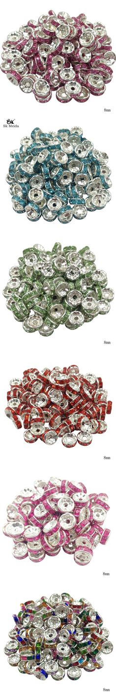 50pcs 8mm DIY Siver Plated Round Acrylic Crystal Spacer Loose Beads For Necklace Bracelet Metal Beads Charm Jewelry Making OL-02