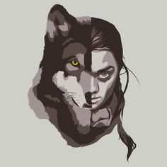 The House Stark Children with their direwolves face by Brian J. Smith  available on Red Bubble