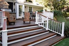 Dark wood deck with white porch railing Outdoor Stair Railing, Deck Railings, Railing Ideas, Porch Stairs, Front Stairs, Front Porch Steps, Deck Steps, Front Deck, Deck Stain Colors