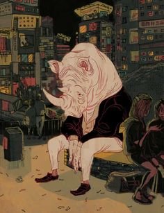 """Illustration by Victo Ngai. Inspired by the film """"Lost In Translation. Art And Illustration, Illustrations Posters, Victor Ngai, Bd Art, Storyboard Artist, Lost In Translation, Art Design, Oeuvre D'art, Art Inspo"""