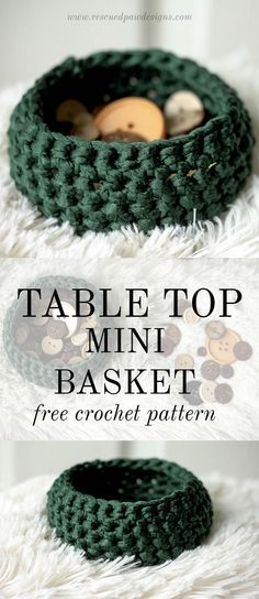 Table Top Mini Basket ⋆ Rescued Paw Designs Crochet by Krista Cagle