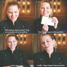 """once upon a time (@onceuponatime.xo) on Instagram: """"i love how smiley she gets when talking about captain swan, it's so cute #ouat #onceuponatime"""""""