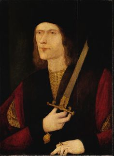 """Broken Sword"" portrait of Richard III - done in Tudor times, shows withered arm and raised shoulder, in current exhibit at Yale Museum of British Art"