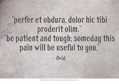 perfer et obdura, dolor hic tibi proderit olim. be patient and tough; someday this pain will be useful to you // quote tattoo // only want to do the words after the comma though // placement; Latin Quote Tattoos, Latin Tattoo, Latin Quotes, Latin Phrases, Latin Words, Own Quotes, Be Yourself Quotes, Words Quotes, Quotes To Live By