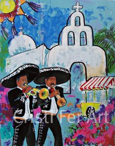 Mexican art Mariachi at the white church Spring in by CristiFerArt, $85.00