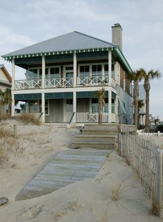Summer Beach Cottage, large front porch, two-story porch, island home, vacation home, waterfront home, waterfront property