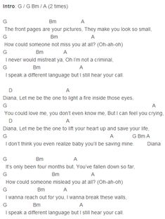 One Direction - Diana Chords