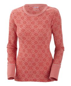 Red Hibiscus Weekday Waffle Burnout Crewneck Top - Women by Columbia #zulily #zulilyfinds