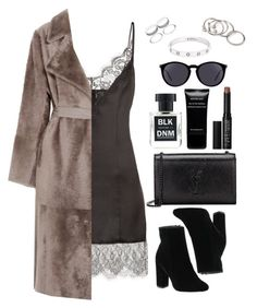 """""""Untitled #491"""" by lindsjayne ❤ liked on Polyvore featuring Yves Salomon, Yves Saint Laurent, BLK DNM, Forever 21, Givenchy, Cartier and NARS Cosmetics"""