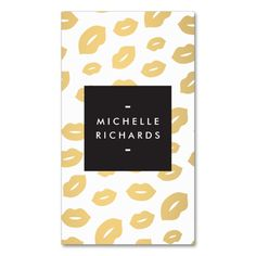 Glam Gold Lip Print for Makeup Artists Double-Sided Standard Business Cards (Pack Of This great business card design is available for customization. All text style, colors, sizes can be modified to fit your needs. Just click the image to learn more! Gold Business Card, Makeup Artist Business Cards, Custom Business Cards, Business Card Design, Makeup Artist Logo, Makeup Artists, Hairstylist Business Cards, Gold Lips, Text Style