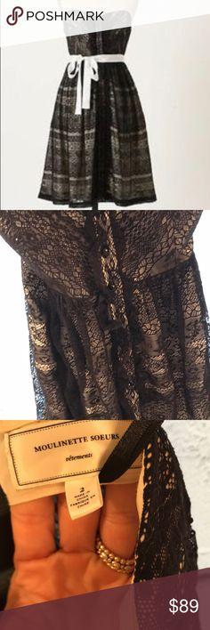 Moulinette Soeurs Anthropologie Black Lace Dress Moulinette Soeurs Anthropologie Black Lace  Strapless Dress. No belt. Anthropologie Dresses Midi