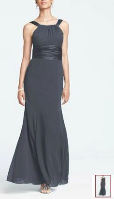 Chiffon and Charmeuse Dress with Rounded Neckline Style F12732 - David's Bridal [Pewter] Bridesmaids