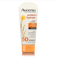 Aveeno Protect   Hydrate Lotion Sunscreen With Broad Spectrum SPF 50 For Face, 3 Oz ** Details can be found by clicking on the image. (This is an affiliate link)