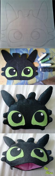 Toothless purse! :3 Inspiration: https://pl.pinterest.com/pin/127508233178080815/ -Black, white, light green felt and thread - Pink fluffy material and Zip ;3