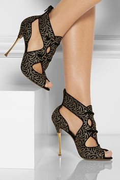 NICHOLAS KIRKWOOD Lace-covered suede sandals - High Heels Blog