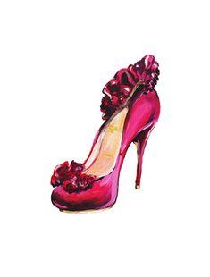 Print of  Louboutin High Heel Fashion Illustration by Talula Christian