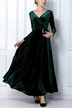 £20.22 yoins This sexy ruched velvet maxi dress is killer and will ensure all eyes are on you this weekend. The soft velvet fabric is smokin' hot and the wrap front design extra glam to the look. Pair up with some strappy heels and a matching clutch for a show-stopping evening look.