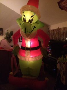 gemmy airblown inflatable blow up grinch christmas yard display 8 ft box - Outdoor Blow Up Christmas Decorations