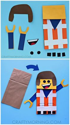 Creativity and fine motor exercise: paper bag lego man puppet craft for kids to make!