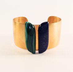 Laiton doré - Malachite - Lapis Lazuli Malachite, Lapis Lazuli, Cuff Bracelets, Charlotte, Jewelry, Brass, Jewlery, Jewerly, Schmuck