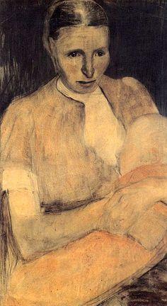 paula modersohn-becker, peasant woman with child 1898