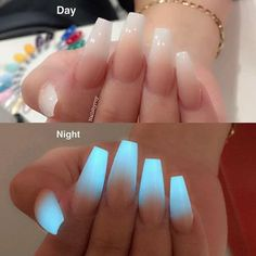 Glow in the dark ombre acrylic nail powder, neon acrylic nails, powder nails , Neon Acrylic Nails, Acrylic Nail Powder, Powder Nails, Acrylic Nail Designs, Nail Art Designs, Nails Design, Neon Blue Nails, Salon Design, Acrylic Nails Coffin Ombre