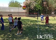Beach ball volley ball for Sports party.  So much easier and safer for kids to play than a real volleyball. TheJoysofBoys.com