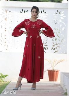 Checkout this latest Kurtis Product Name: *Women's Embroidered Rayon Long Anarkali Kurti* Fabric: Rayon Sleeve Length: Three-Quarter Sleeves Pattern: Embroidered Combo of: Single Sizes: S Easy Returns Available In Case Of Any Issue   Catalog Rating: ★4 (272)  Catalog Name: Women Rayon Flared Embroidered Yellow Kurti CatalogID_744943 C74-SC1001 Code: 005-5061769-9921